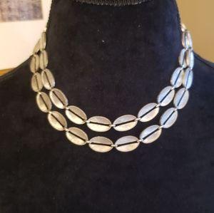 TRUE VINTAGE Amazing heavy double silver necklace